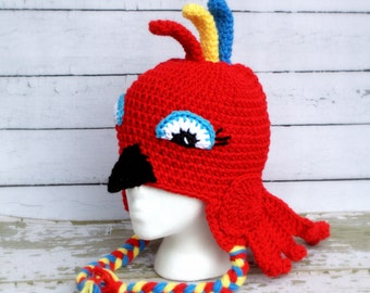 Parrot hat.Crochet parrot hat.Made to order.