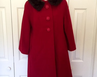 Vintage Penn Craft Red Winter Coat, Fur  Collar, 1960's, Medium to Large,