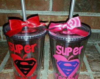 Personalized Teacher Gift - Teacher Gifts - Teacher Cup - Teacher Travel Mug- Teacher Appreciation Gift - Teacher Gifts - Super Teacher