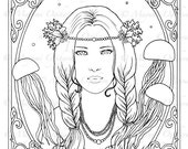 Art Nouveau Mermaid - digital stamp, colouring page, printable, instant download
