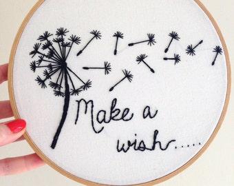 "Hand Embroidered Hoop Art - ""Make a Wish"" Dandelion - 8.5 inch hoop"