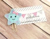 Blue/Purple/Starfish/Felt Applique Paper Clip/Planner Clip/Journal Marker/Bookmark