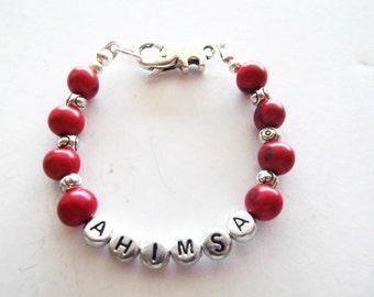"""Ahimsa """"To Do No Harm"""" Stretch Bracelet, Organic Beaded Bracelet, Red & Silver, Eco-Friendly, Vegan, Statement Jewelry"""