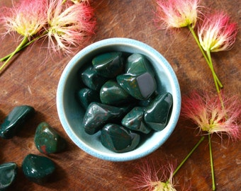 Tumbled Bloodstone Healing Crystal Polished Gemstone Pocket Stone Reiki Wicca Meditation Metaphysical Supply Large Green Bloodstone Crystal