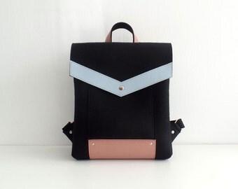 Black Pink Gray Felt Genuine Backpack