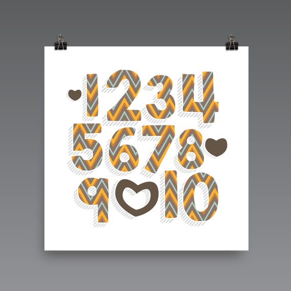 I LOVE YOU (Patterned - ZigZag Harvest) Numbers Poster Print - Nursery, Kids Room, Wall Art Modern