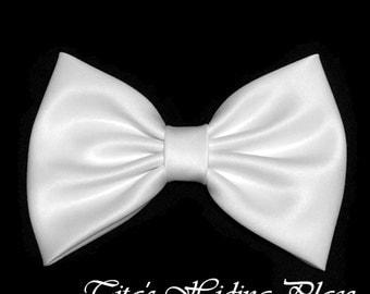 White Hair Bow, Satin Hair Bow Clip, Bows For Women, Kawaii Bows, Handmade Bow, Satin Fabric Bow, Lolita, Big Bow, Baby Girl Bow, 043