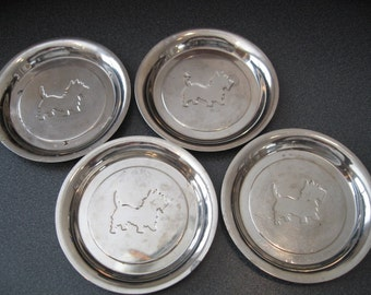 Vintage Chrome Plated Scottie Dog Coasters, Set of Four