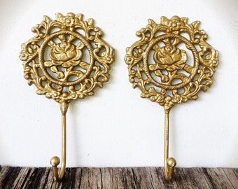 BOLD pair of ornate rose floral wall hooks // golden metallic gold // rustic decor // coat towel key hook // french country vintage storage