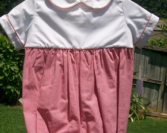 Boy Bubble size 1. Red gingham bottom attached to a white top piped with red gingham pipping.