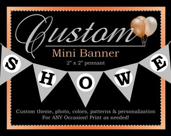 Custom Mini Banner, Personalized Mini Banner, Printable Party Decorations, ALL Coordinating Custom Designs Can Be Ordered From This Listing