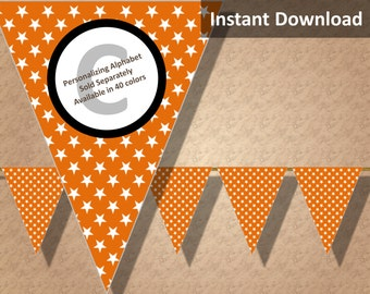 Orange Star Halloween Bunting Pennant Banner Instant Download, Party Decorations