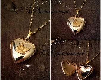 The Swan Princess Inspired Odette Locket Necklace - Swan Locket - Heart locket necklace - 18k gold plated brass