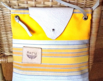 AMARILLA bag, yellow canvas and off-white leather shoulder bag. 201710SALE COUPON CODE-10%