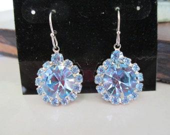 Vintage Ice Blue Round Rhinestone Pierced Dangle Drop Earrings in Silver Setting, Bridal, Wedding, Prom, Bling Earrings