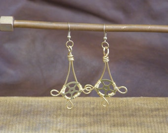 Brass Pendant Wire-Wrapped Gearrings