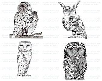Owl Art, Black and White Art Prints, Nursery Art, Owl Nursery, Fine Art Prints, Pen and Ink Art Prints, Animal Art, Ink Drawings, children's