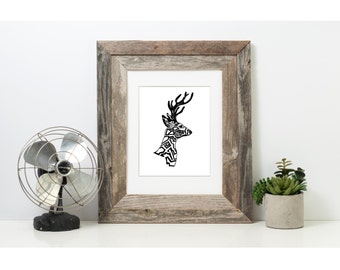 Art, Black and White Art, Pen and Ink Deer, Signed 4 X 6 Print, Home Decor, Design Drawing, Deer Drawing, Animal Drawing