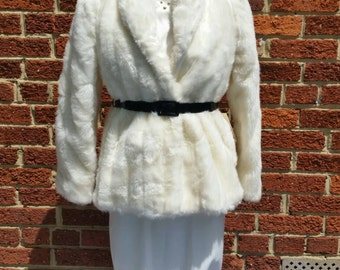 Vintage White Faux Fur Jacket Black Belt Still Has Tags Size 7