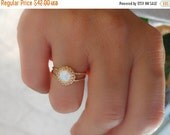 SALE - Opal gold ring - Rainbow opal ring - white opal ring - Gold ring - Double band opal ring