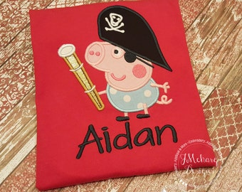 Pirate George Peppa Pig Birthday Custom Tee Shirt - Customizable -  Infant to Youth 189