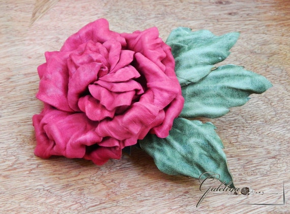 Red crimson leather rose flower pin brooch hair hat clip. Leather wedding anniversary gift