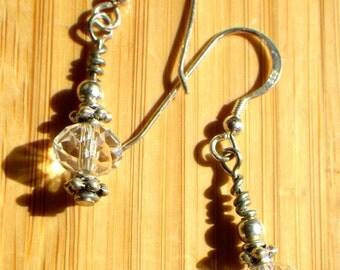 Crystal Clear Sterling Silver Dangle Earrings
