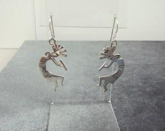 Sterling Silver Kokopelli Hook Earrings E42