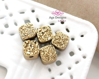 Square Druzy Stones with Hole Gold color