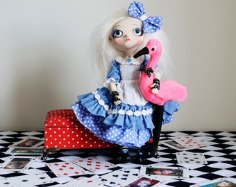 OOAK Alice in Wonderland /Tim Burton Inspired-Art Doll- Pink Flamingo accessory