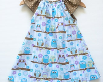 Owls Patterned Flutter Sleeve Dress, 100% Cotton, Size 2/3 Toddler