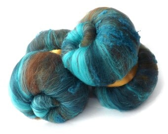 Spinning batts - textured batts - 21 micron Merino wool - Tussah silk - 100g - 3.5oz - Turquoise - COPPER MINE