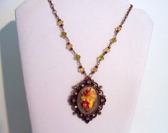 Autumn Colored Flower BAsket Cameo - Swarovski Crystals - Antique Copper Bezel
