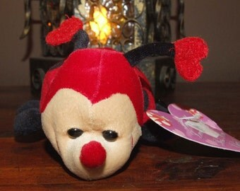 Vintage 90's Valentine's Day Ladybug with Red Heart Antenna Be My Love Bug Plush Bean Bag Animal