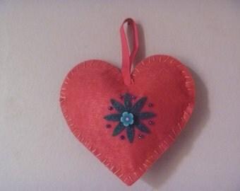 floral felt heart, hanging felt heart decoration, ecofriendly