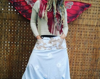 Boho harem pants/ gypsy/ festival/ pirate/ upcycled fabric/ planet-friendly/ one-off/ floral/ bohemian/ peasant. Size 14.