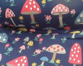 """1/2m Cath Kidston. Cotton Canvas Fabric. Toadstools on Navy. 140cm Wide. (19"""" x 43""""). Print Flaw."""