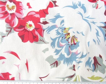"1/2m Cath Kidston. Cotton Upholstery Fabric. Greenwich Rose White.  (19"" x 57"") Heavy Canvas."