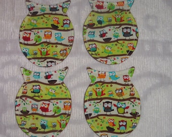 Set of 4 Shabby Owl Silhouette Shaped Coasters~Playful Owls on Branches