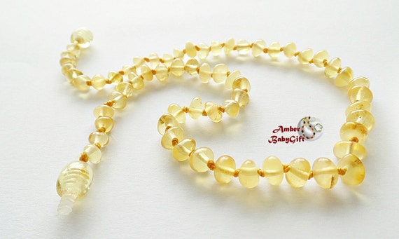 Baltic Amber Teething Necklace - Genuine Baltic Amber - Matt Amber Beads - Light Amber - Girl Jewelry -  Screw clasp, K-12