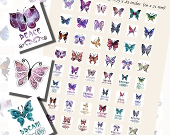Butterfly Printables, SCRABBLE TILE SIZE (.75 x .83 Inches or 19 x 21 mm), 48 Illustrations Included