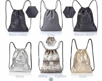 Back bag leather backpack purse - multi leather bag - SALE leather tote- laptop bag- leather handbag - leather drawstring backpack rucksack