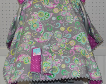 Baby Car Seat Canopy Girl/Gray/Teal/Magenta