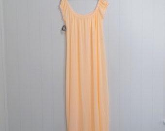 Vintage 70s Nightgown, 70s Sleepwear, Deadstock, Neon Peach Nightgown, Semi Sheer Night Gown