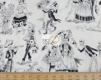"100% Cotton Fabric By Alexander Henry - Paseo De Los Muertos - Sold By The Yard  - 45"" Width (FH-2274) Day OF The Dead"
