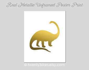 Metallic Dino Art Print, Real Metallic Ink Art Print, Gold Silver Foil, Unframed, Custom Colors, real gold foil, silver foil Apatosaurus
