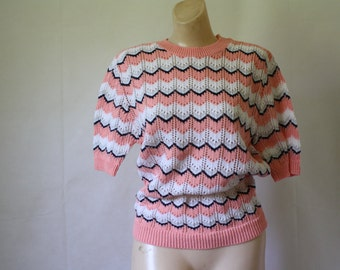 Vintage Sweater / 1970's Sweater / Chevron Sweater / Blair Sweater / Pullover Sweater S/M