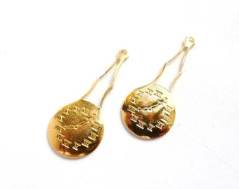 2 Gold Clock Charms - 22-1-4