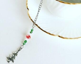 """Tea Infuser """"Christmas Tree"""" Charm ~Tea Time~ Mesh Tea Ball // Red Green White"""