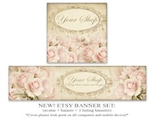 NEW Vintage roses Etsy banner set Etsy cover 1200x300 Banner 500x500 Avatar NEW LOOK